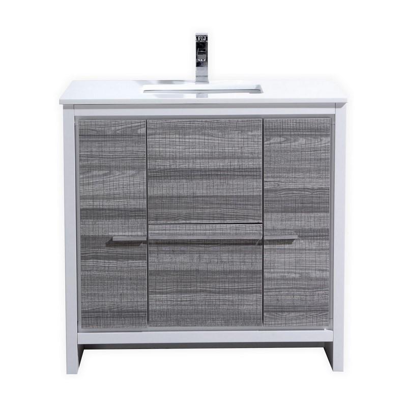 "Modern Lux 36"" Ash Gray Modern Bathroom Vanity with White Quartz Counter-Top"