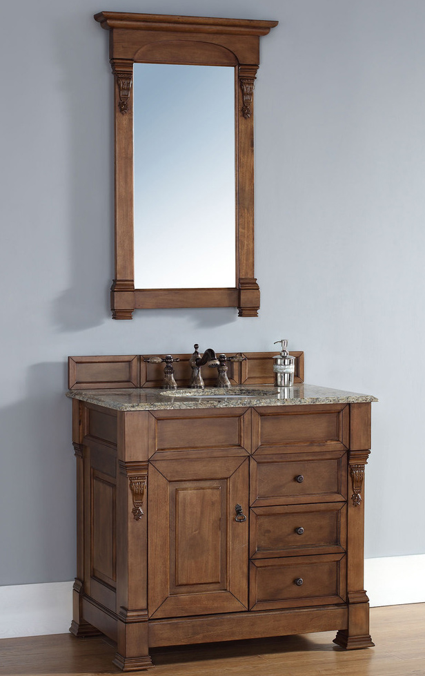 """James Martin Brookfield Collection 35"""" Single Vanity with Drawers, Country Oak"""