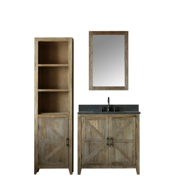 36 inch Distressed Solid Elm Bathroom Vanity Moon Stone Countertop