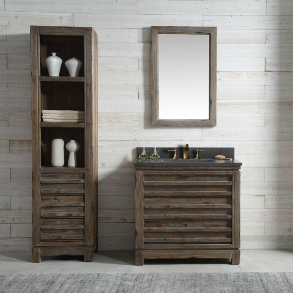Inch Distressed Wood Bathroom Vanity Moon Stone Countertop - Reclaimed wood bathroom vanity for sale