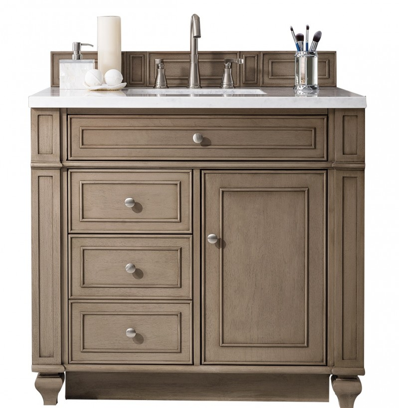 36 Inch Antique Single Sink Bathroom Vanity Whitewashed Walnut Finish White Quartz Top