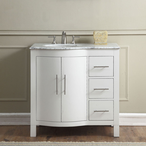 36 inch Single Sink Contemporary Bathroom Vanity White Finish