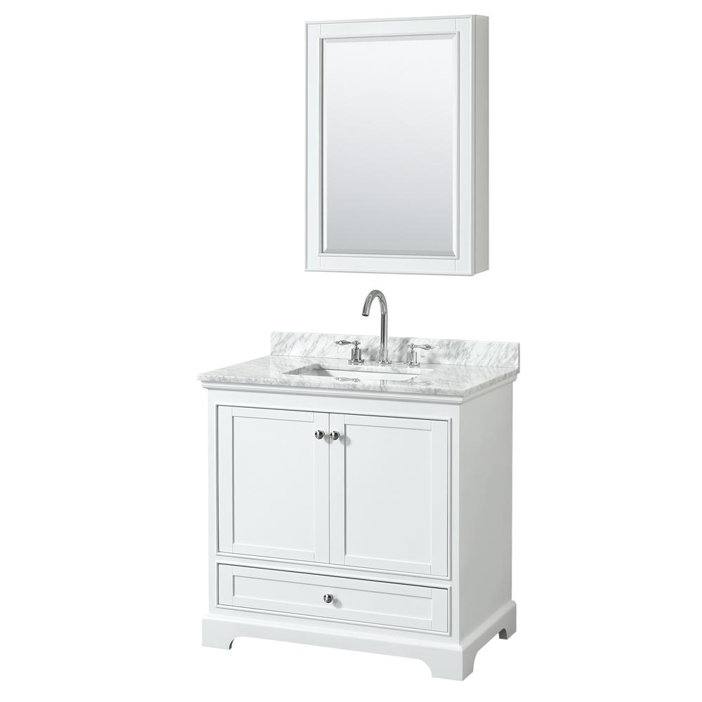 36 inch Transitional White Finish Bathroom Vanity Set