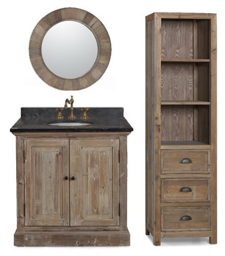 Marvelous 36 Inch Rustic Single Sink Bathroom Vanity Marble Top Nice Look
