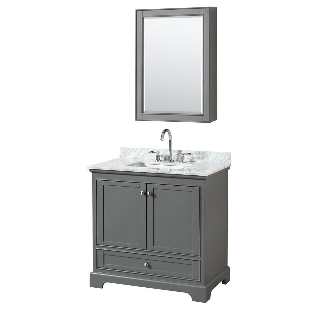 36 inch Transitional Dark Grey Finish Bathroom Vanity Set