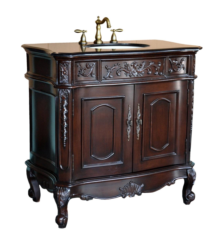 Adelina 37 inch Antique Bathroom Vanity Black galaxy granite counter top