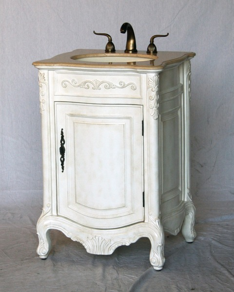 "22"" Adelina Antique Style Single Sink Bathroom Vanity Antique White Finish with Beige Stone Countertop"