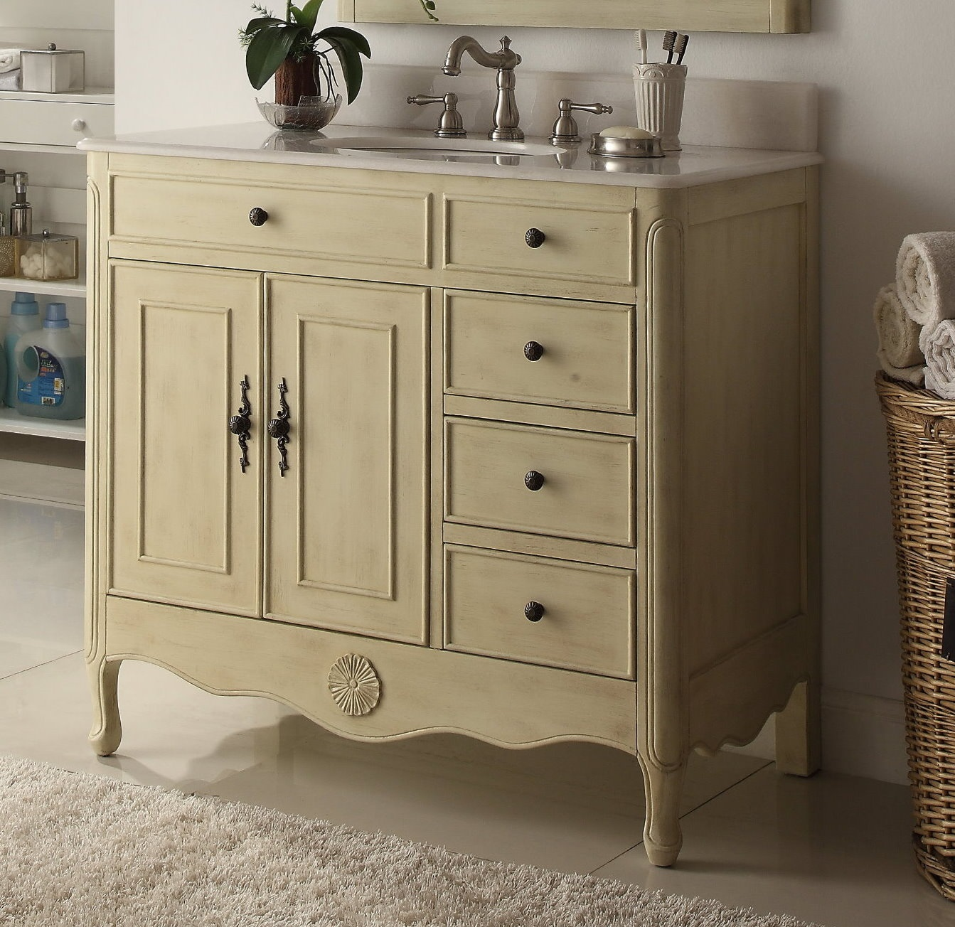 "Adelina 38"" Distressed Cream Bathroom Sink Vanity"