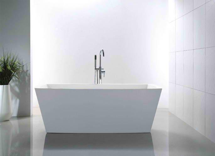 Whirlpools 32 x 67 Rectangle Acrylic Freestanding Bathtub in Glossy White