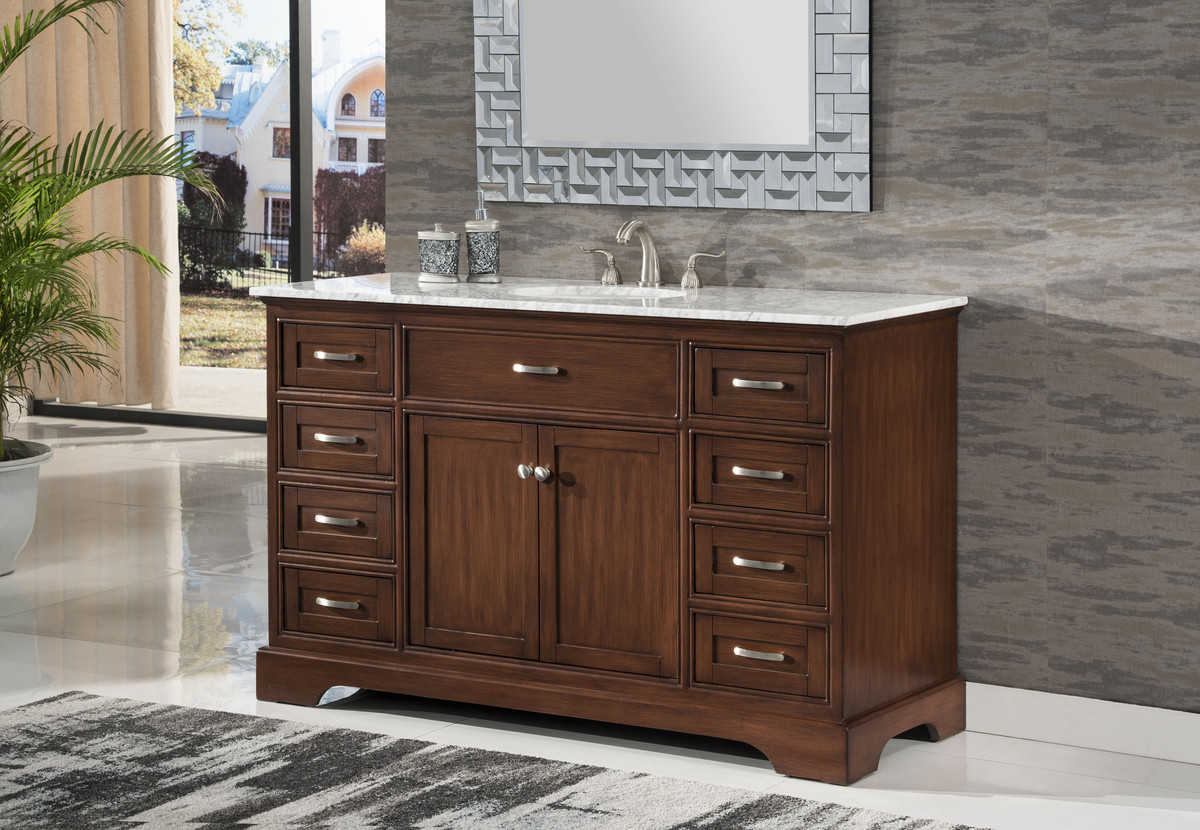 "56"" Adelina Contemporary Style Single Sink Bathroom Vanity Walnut Finish with White Italian Carrara Marble Countertop and Oval White Porcelain Sink"