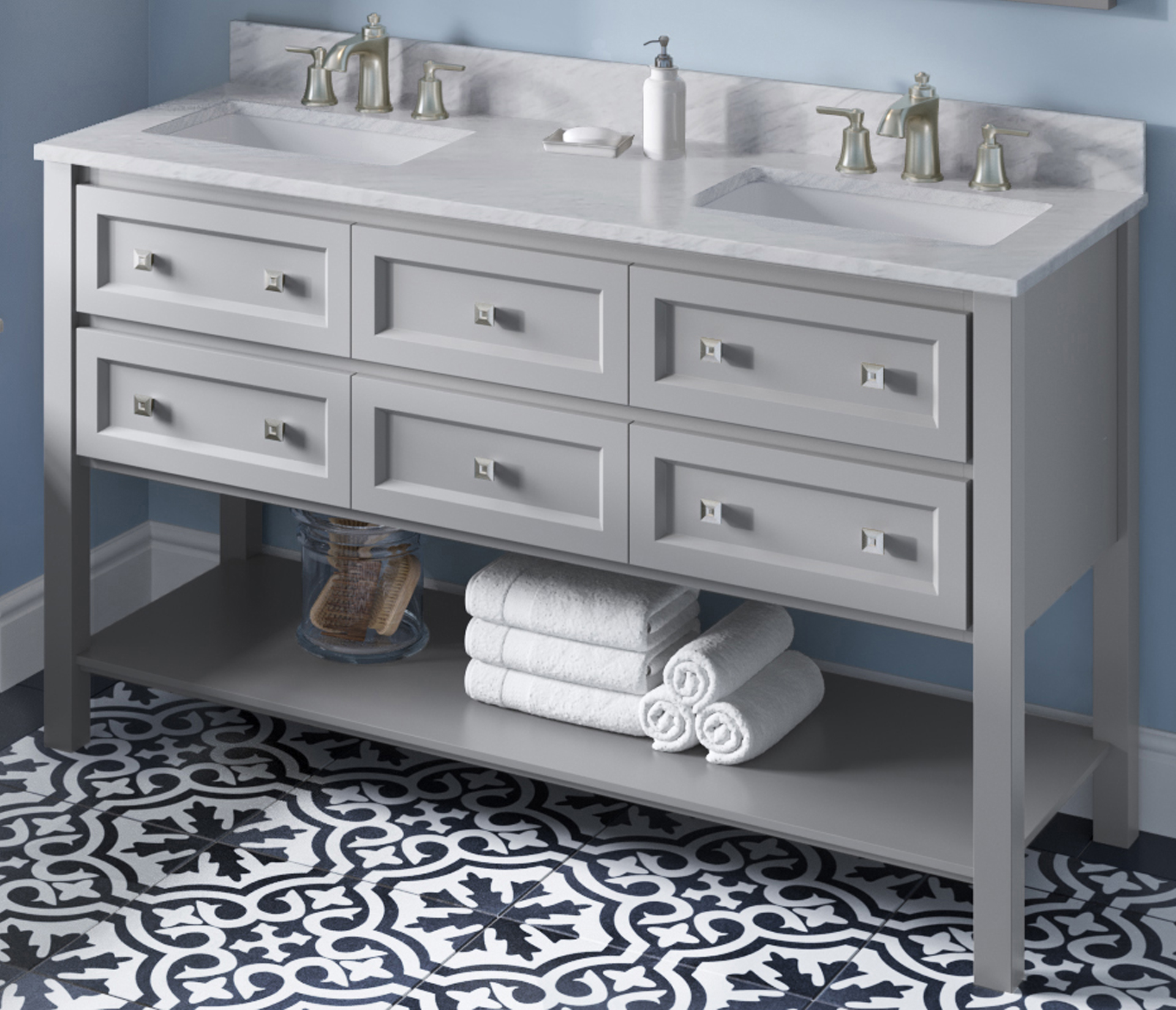 "60"" Grey Bathroom Vanity Finish, Double Bowl, White Carrara Marble Vanity Top, Two Undermount Rectangle Bowls"