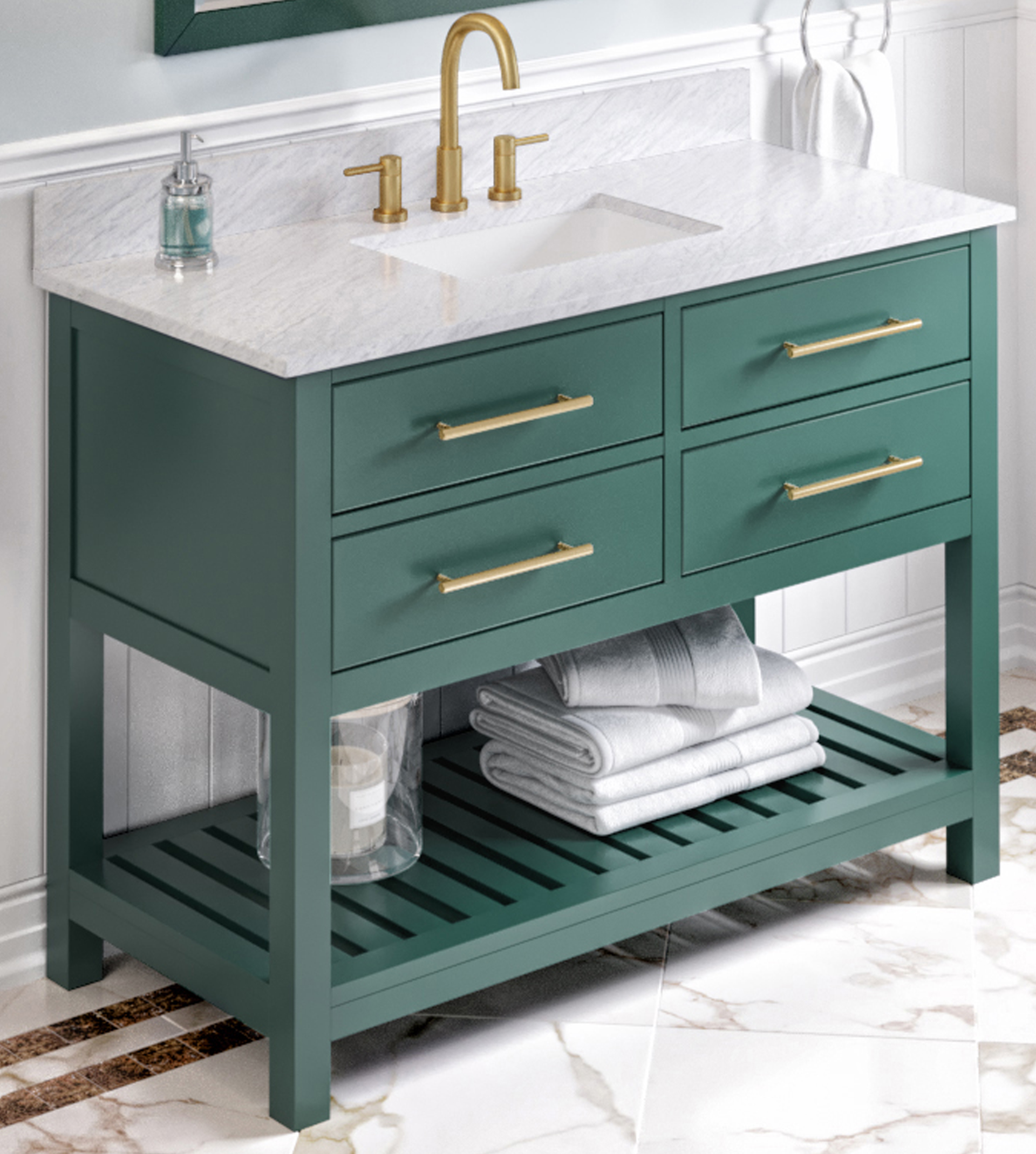 """48"""" Forest Green Single Sink Vanity, White Carrara Marble Vanity Top, Undermount Rectangle Bowl"""