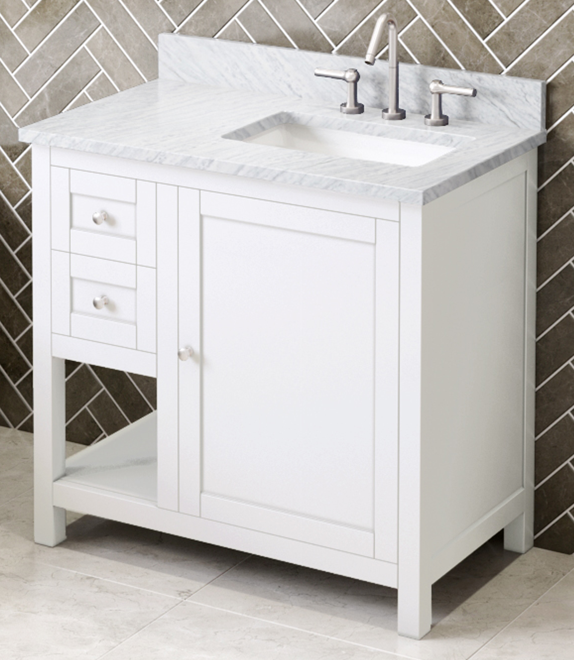 "36"" White Vanity, Right Offset, White Carrara Marble Vanity Top, Undermount Rectangle Bowl"
