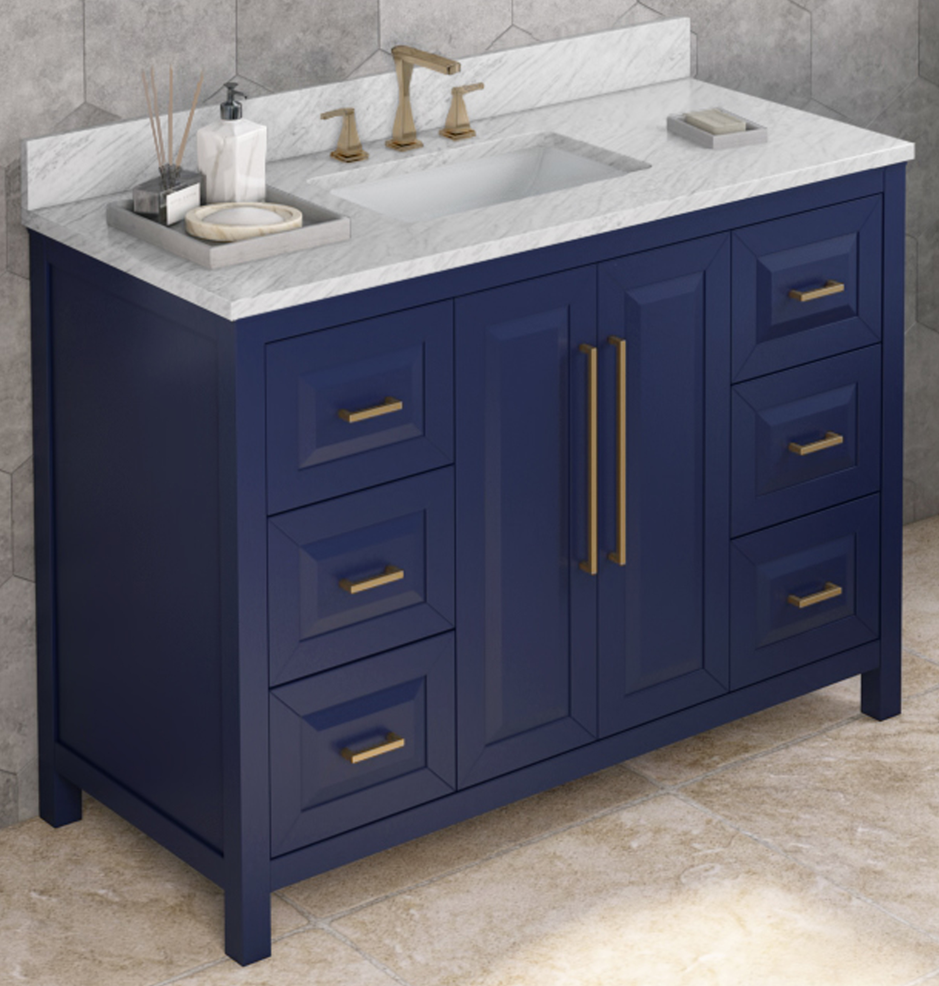 "48"" Single Sink Hale Blue Vanity, White Carrara Marble Vanity Top, Undermount Rectangle Bowl"