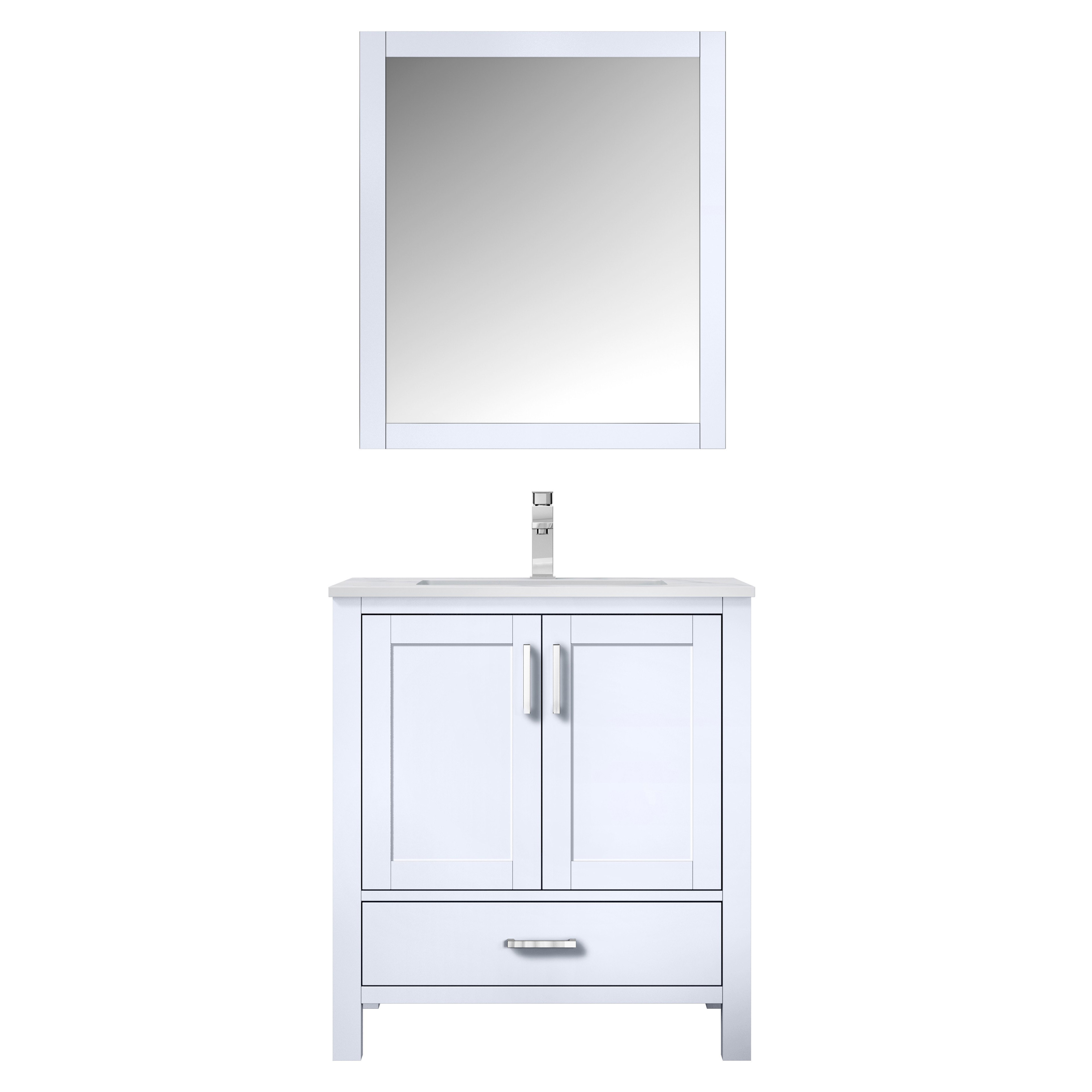 """30"""" White Vanity Cabinet Only with Countertop and Mirror Options"""