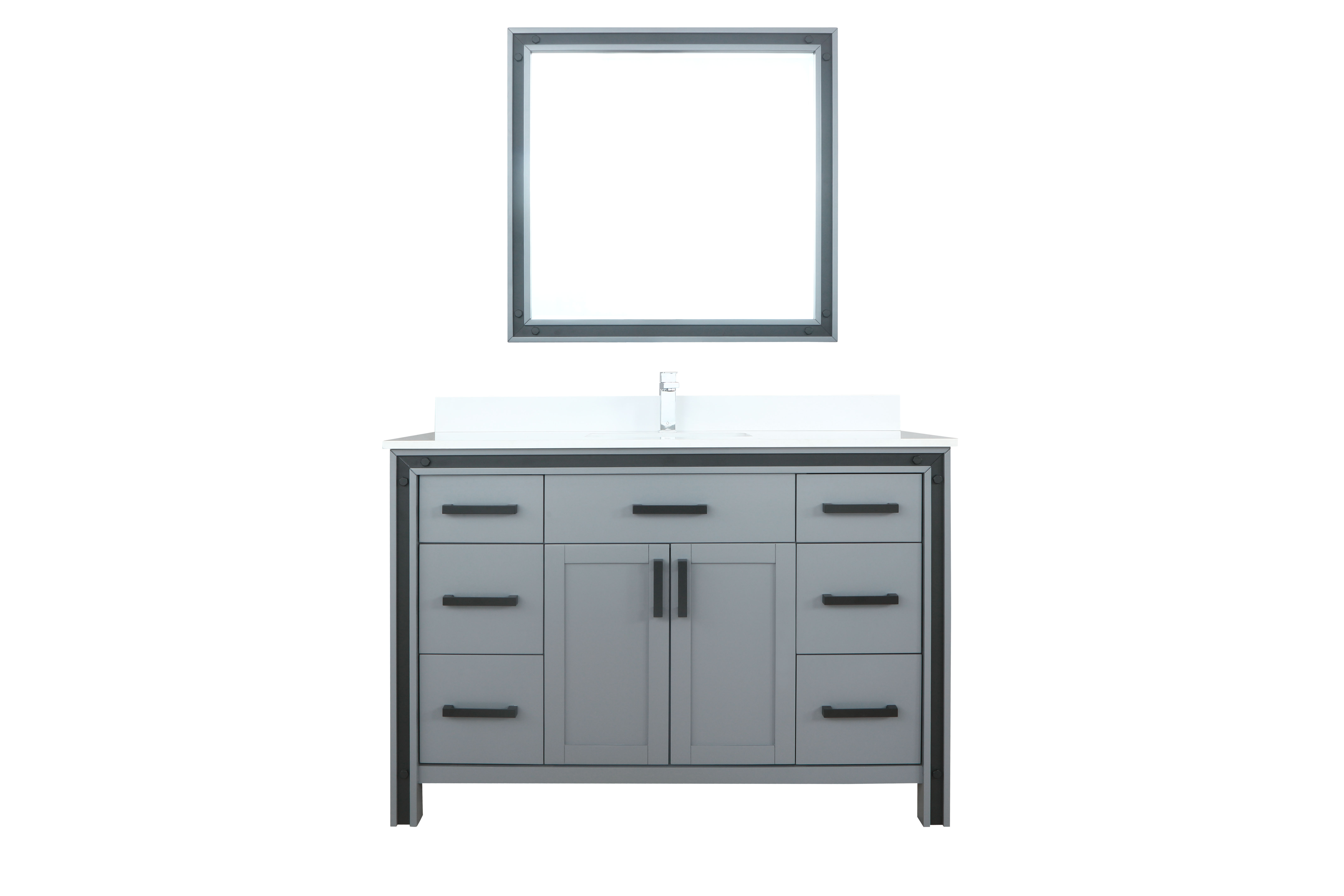 """48"""" Dark Grey Vanity Bathroom Cabinet Only with Countertop and Mirror Options"""