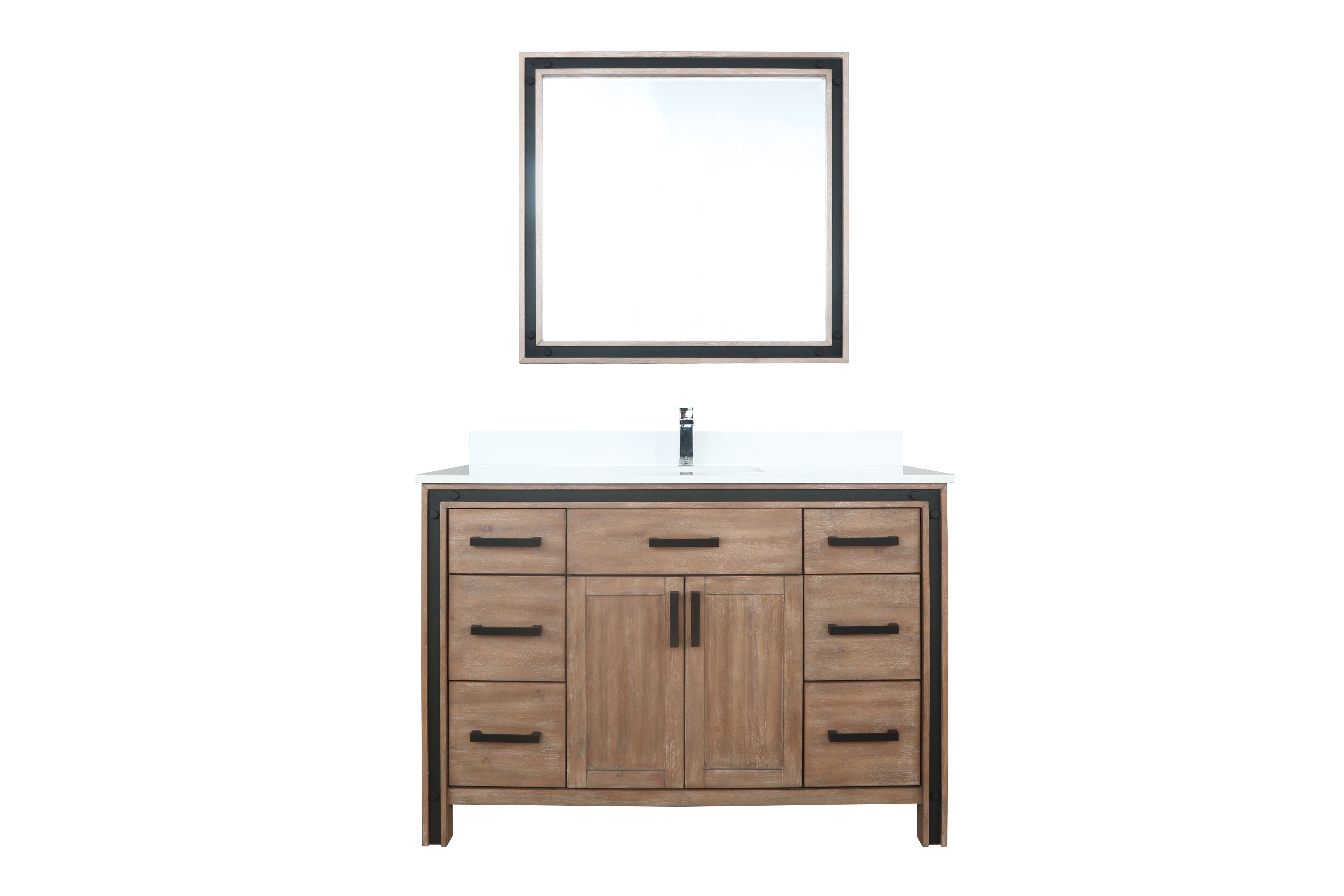 """48"""" Rustic Barnwood Vanity Cabinet Only with Countertop and Mirror Options"""