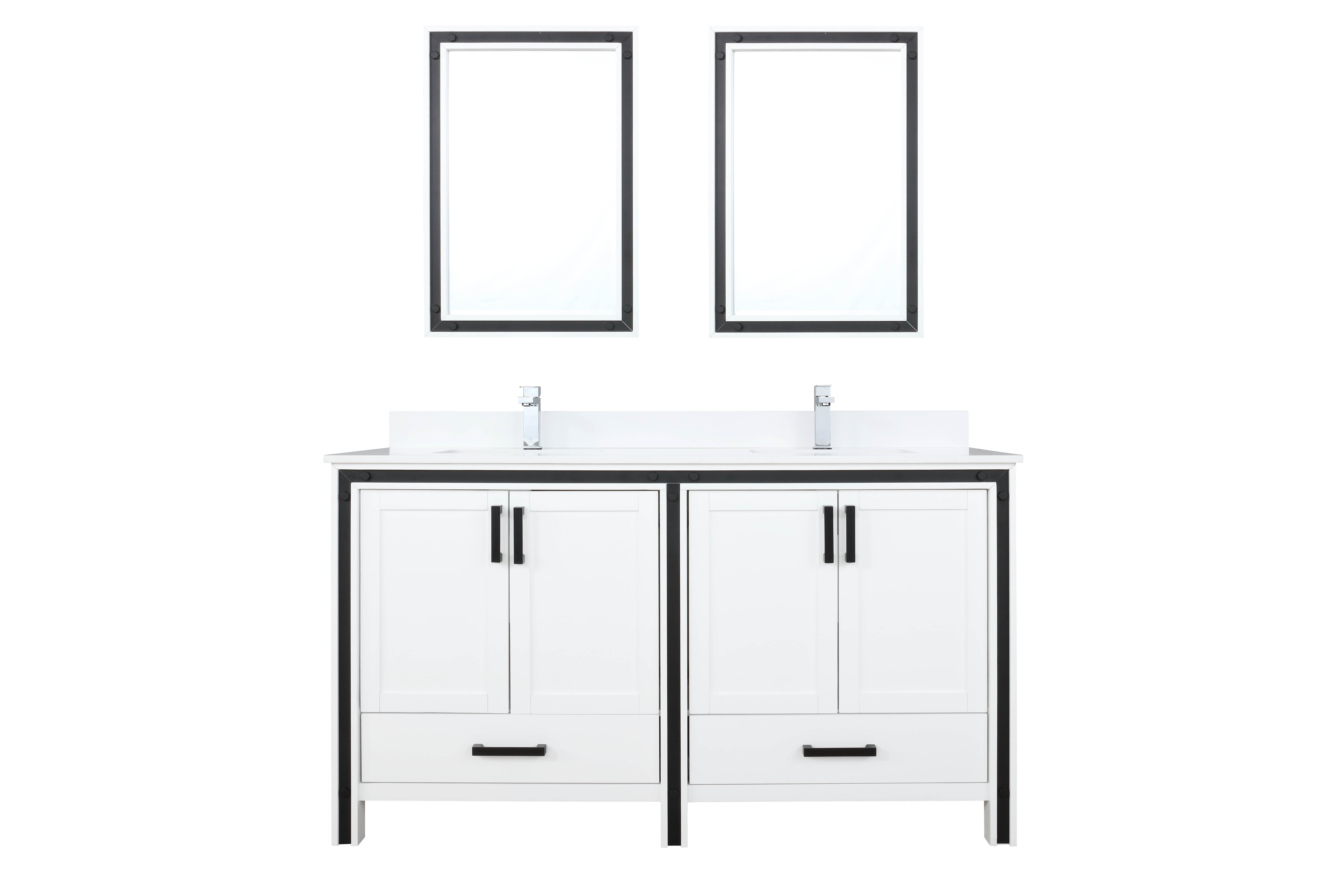 """60"""" White Vanity Bathroom Cabinet Only with Countertop and Mirror Options"""