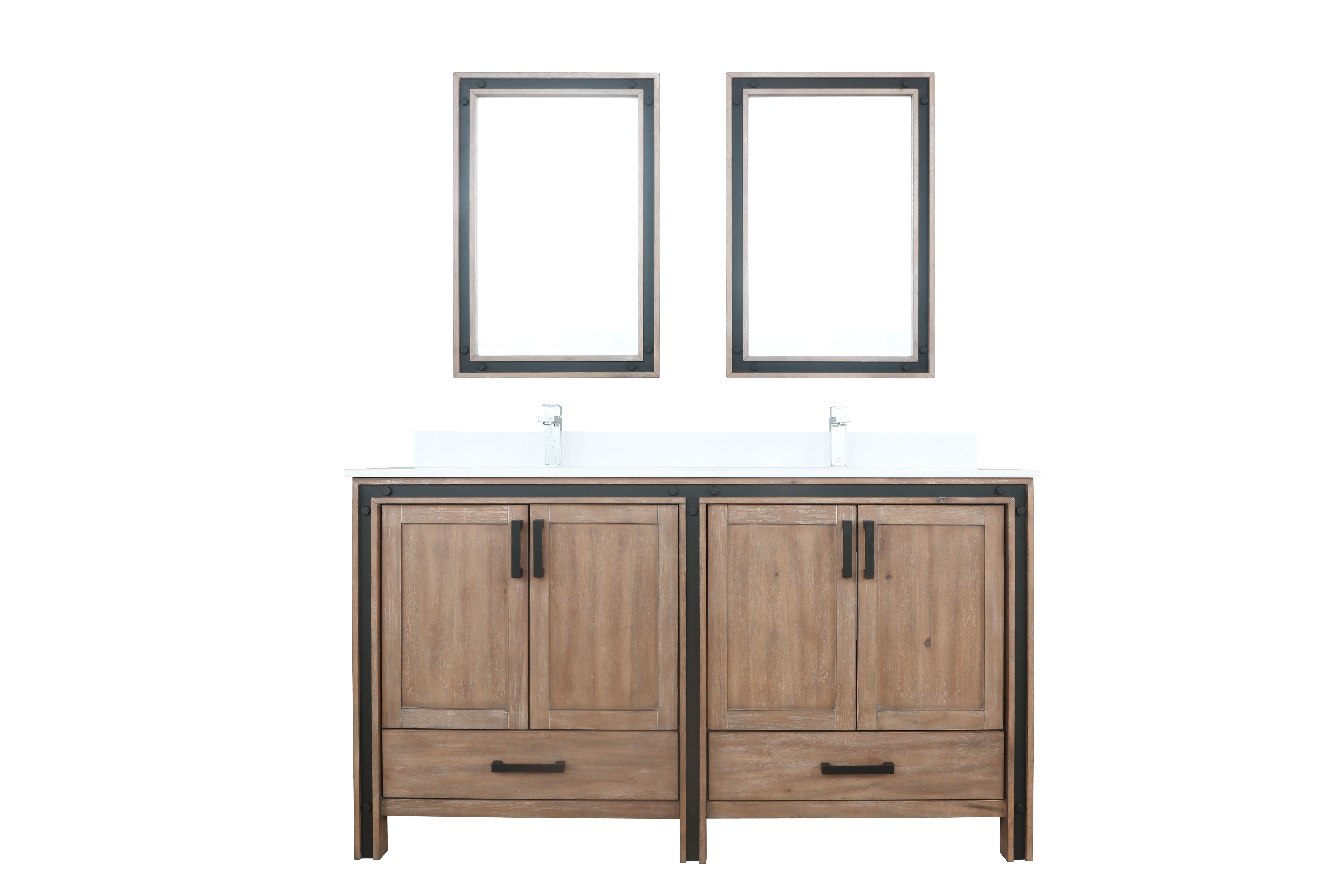 """60"""" Rustic Barnwood Vanity Bathroom Cabinet Only with Countertop and Mirror Options"""