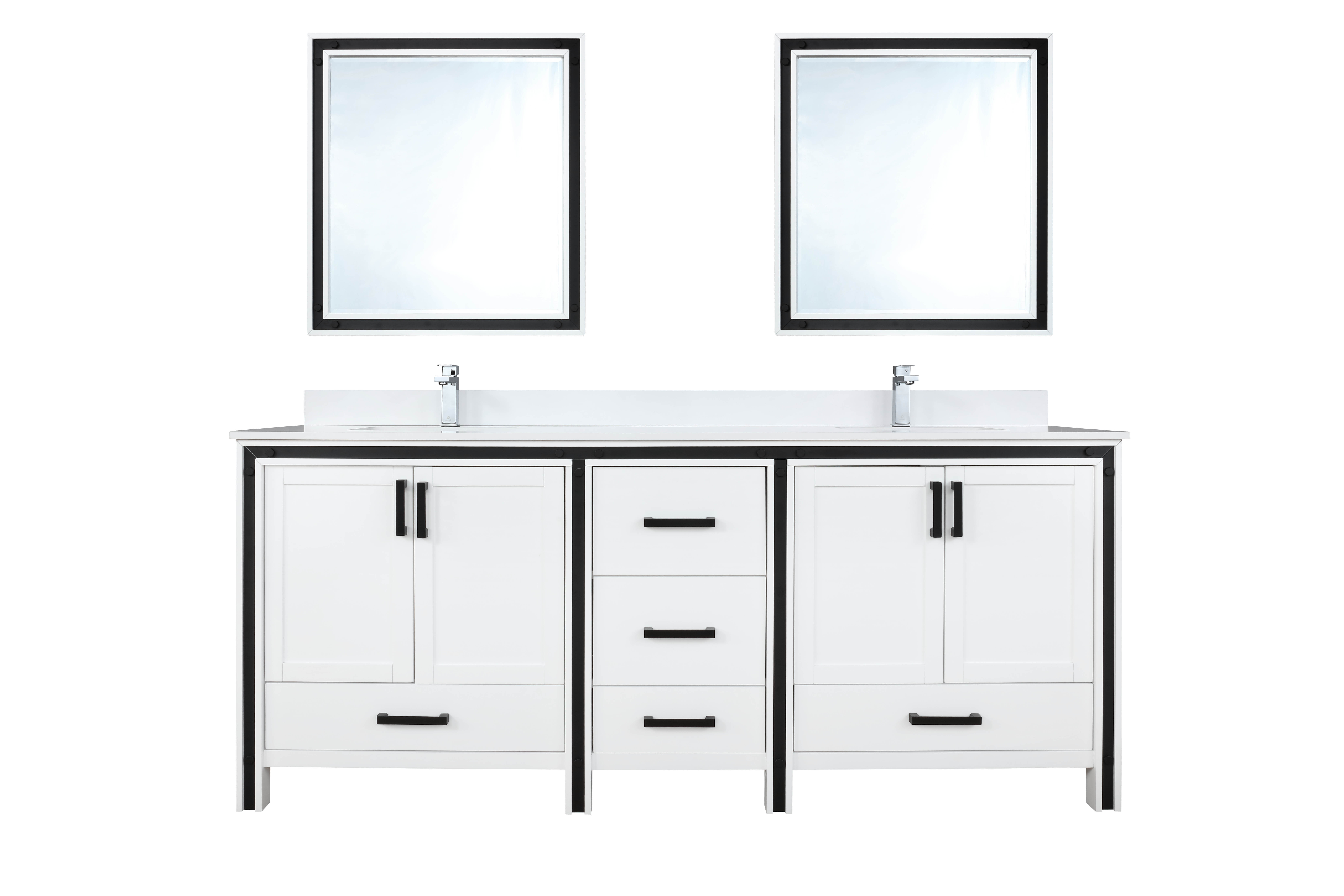 """72"""" White Vanity Bathroom Cabinet Only with Countertop and Mirror Options"""