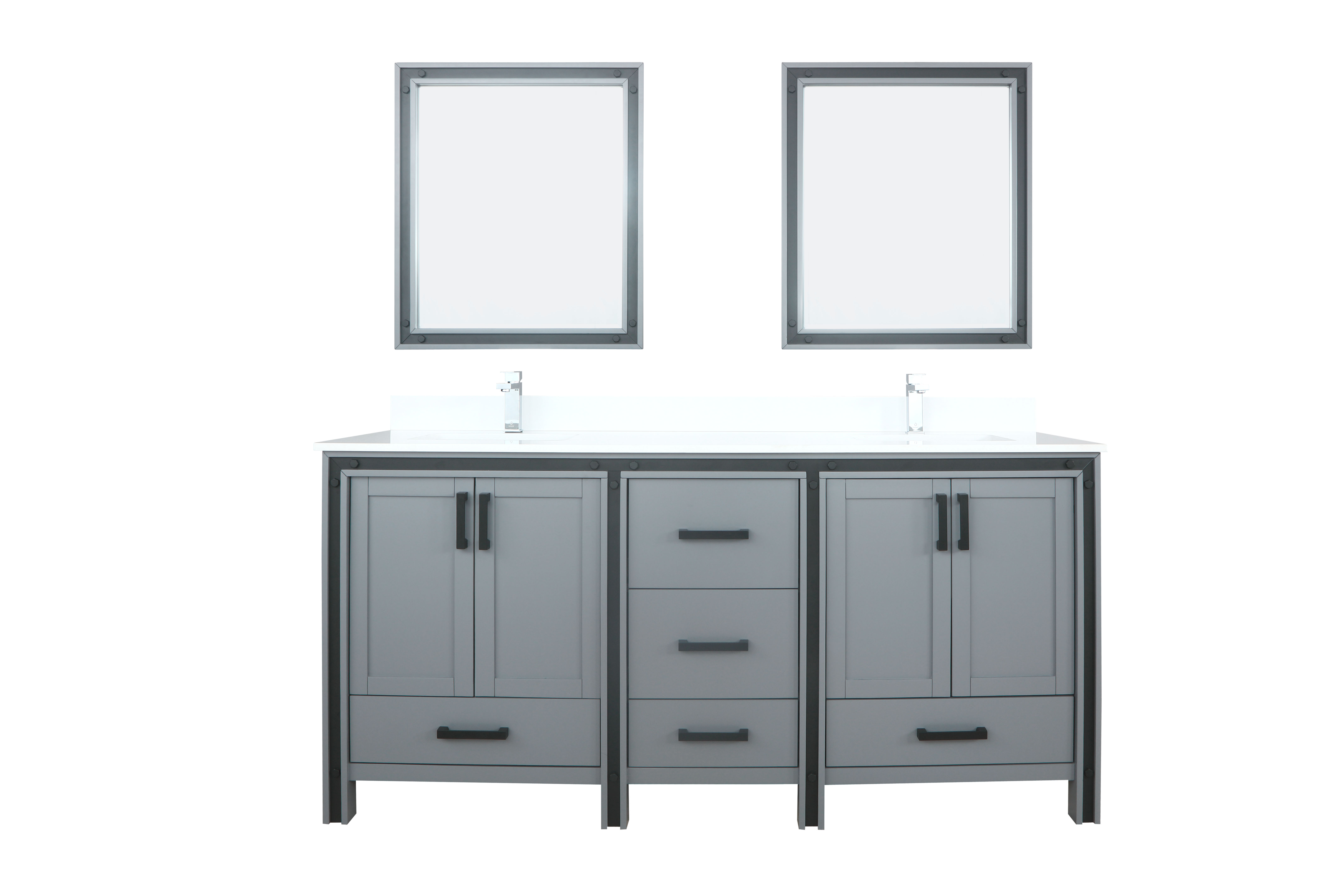 """72"""" Dark Grey Vanity Bathroom Cabinet Only with Countertop and Mirror Options"""