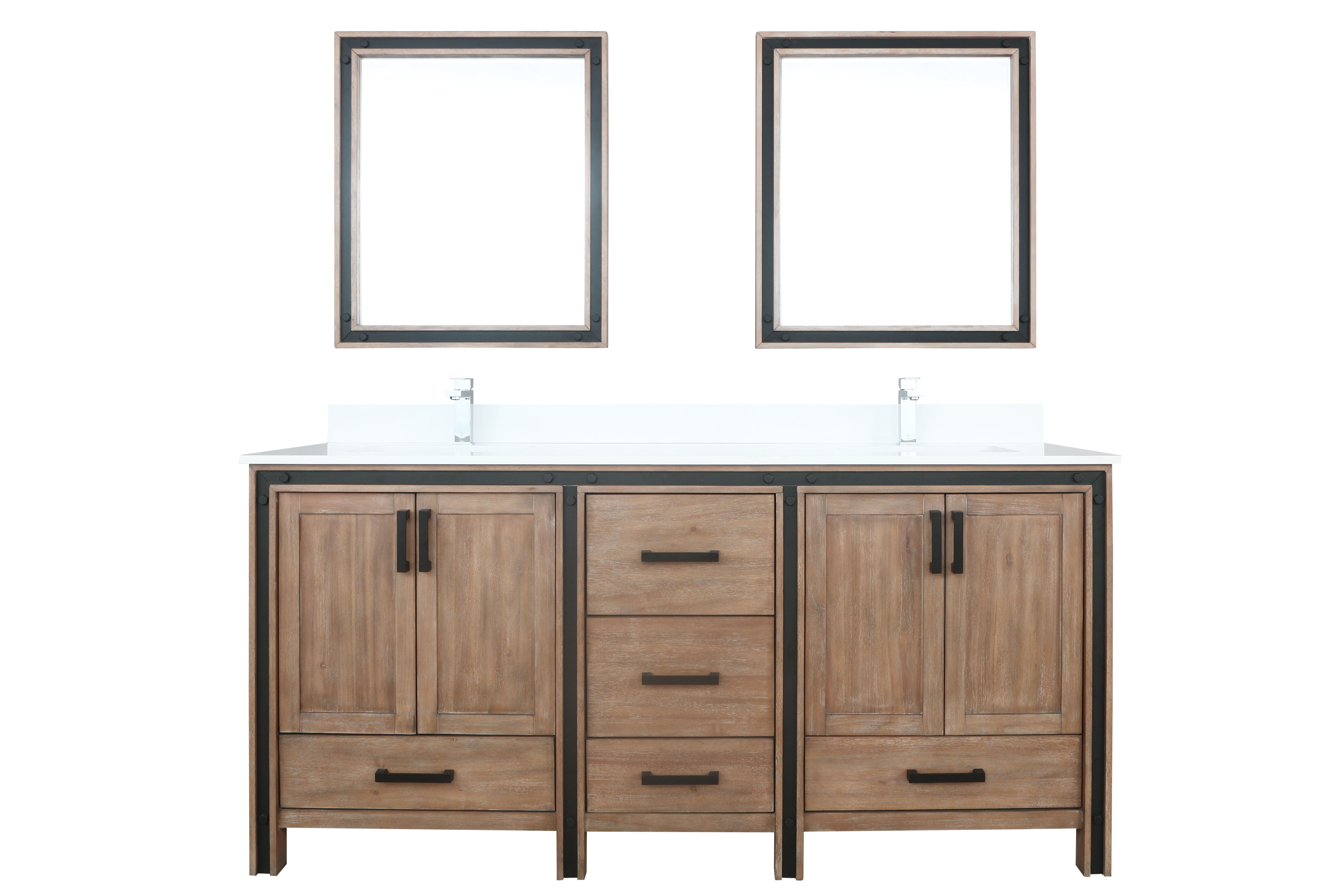 """72"""" Rustic Barnwood Vanity Cabinet Only with Countertop and Mirror Options"""