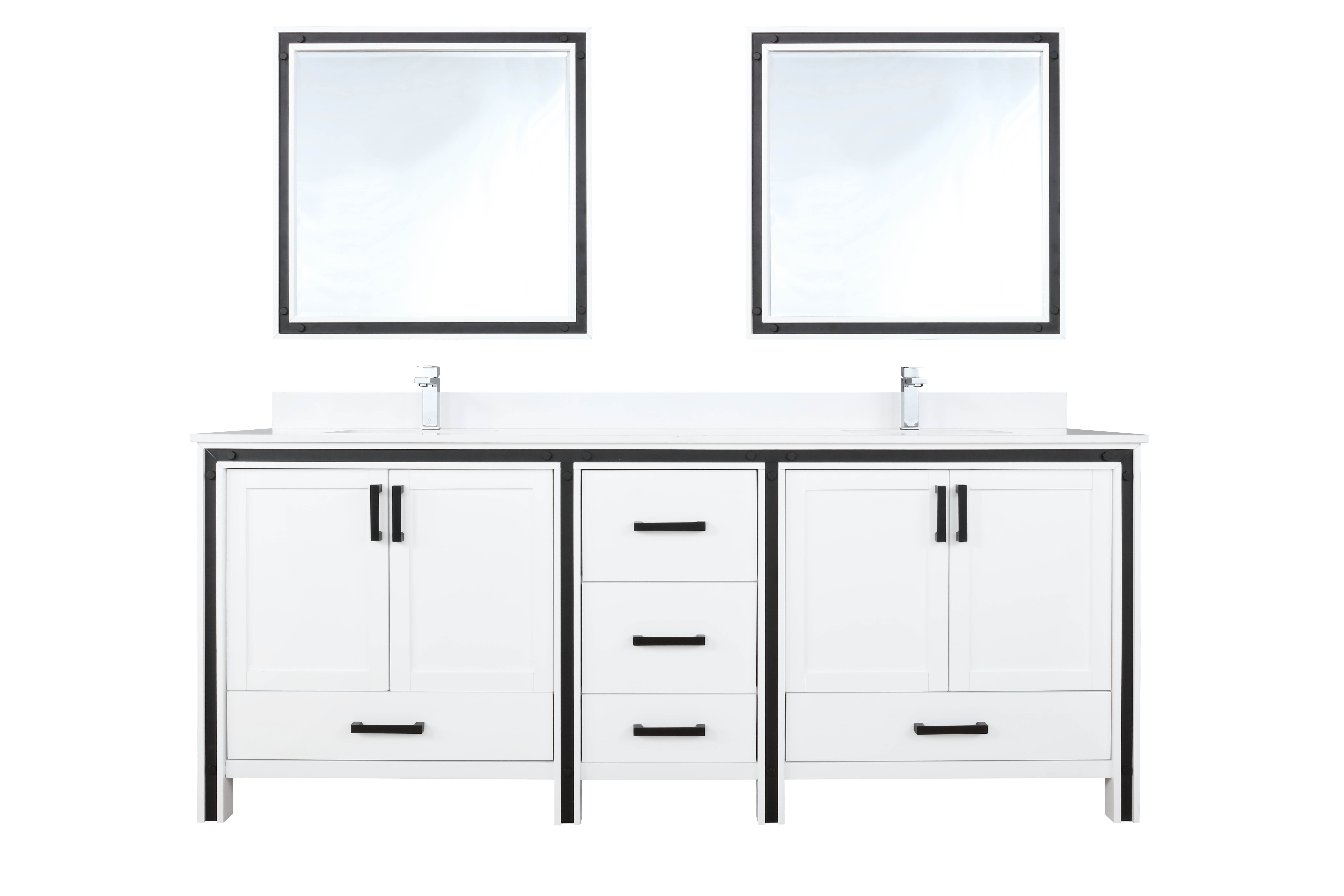 """80"""" White Vanity Bathroom Cabinet Only with Countertop and Mirror Options"""