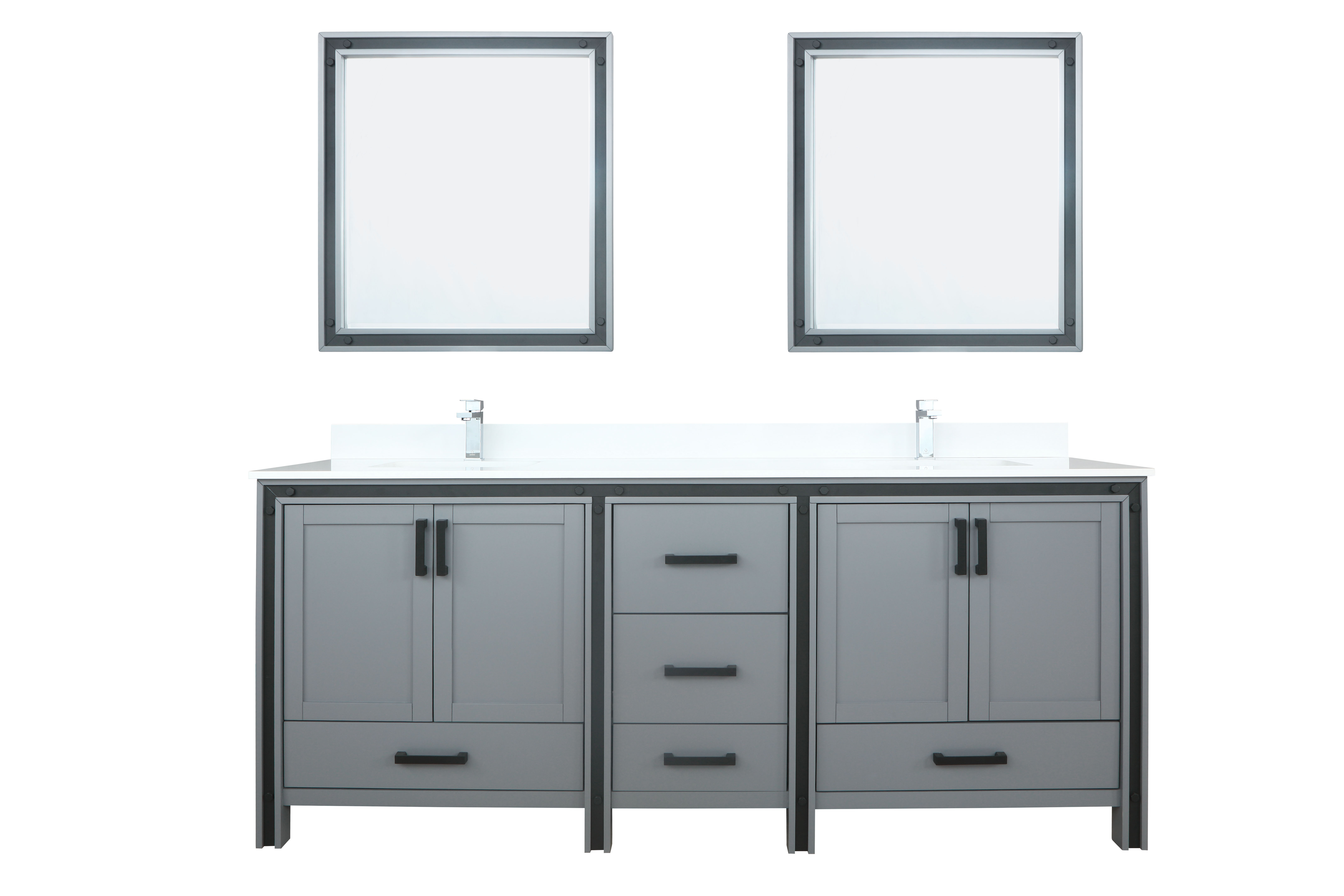 """80"""" Dark Grey Vanity Bathroom Cabinet Only with Countertop and Mirror Options"""
