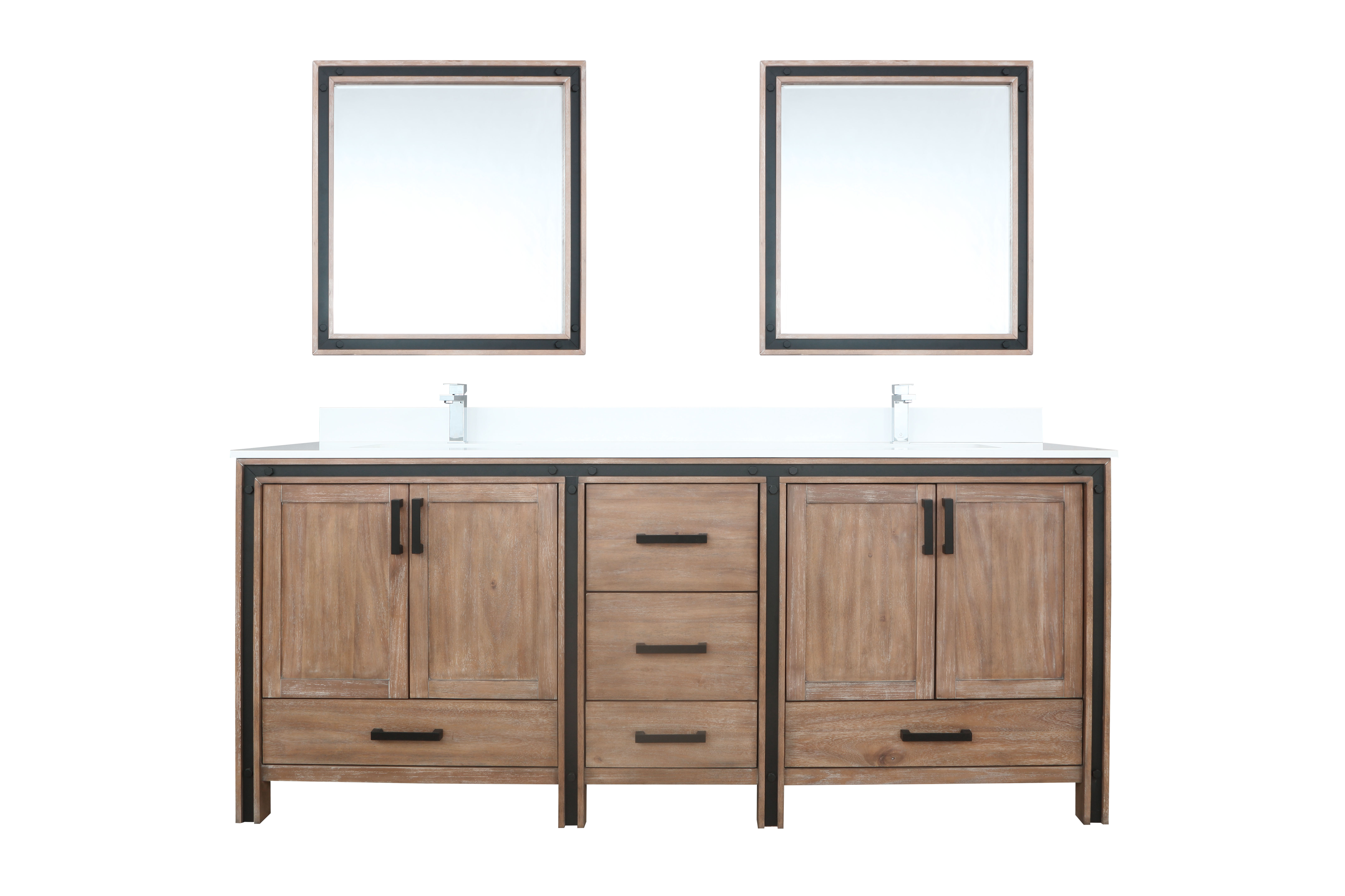 """80"""" Rustic Barnwood Vanity Cabinet Only with Countertop and Mirror Options"""