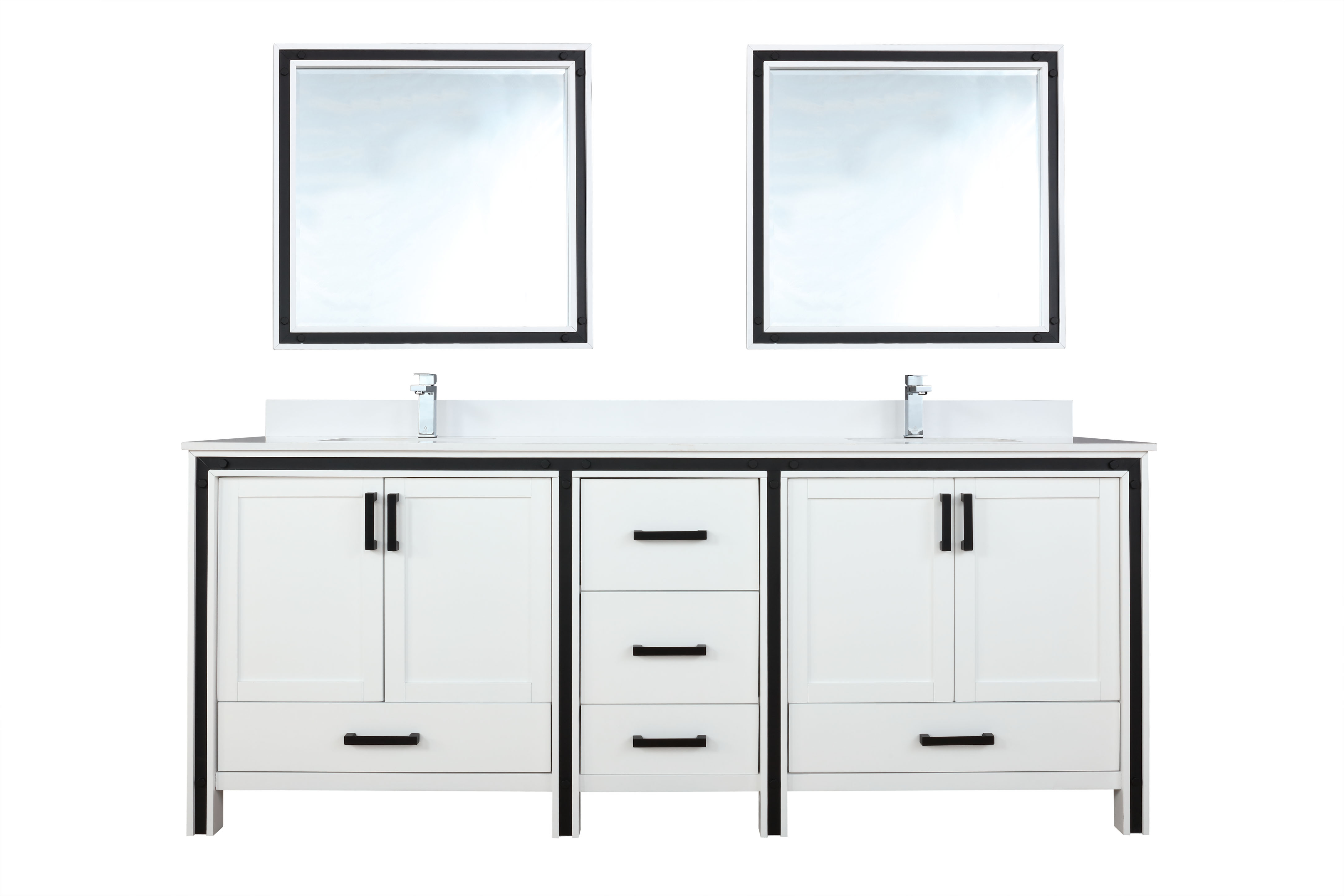 """84"""" White Vanity Bathroom Cabinet Only with Countertop and Mirror Options"""