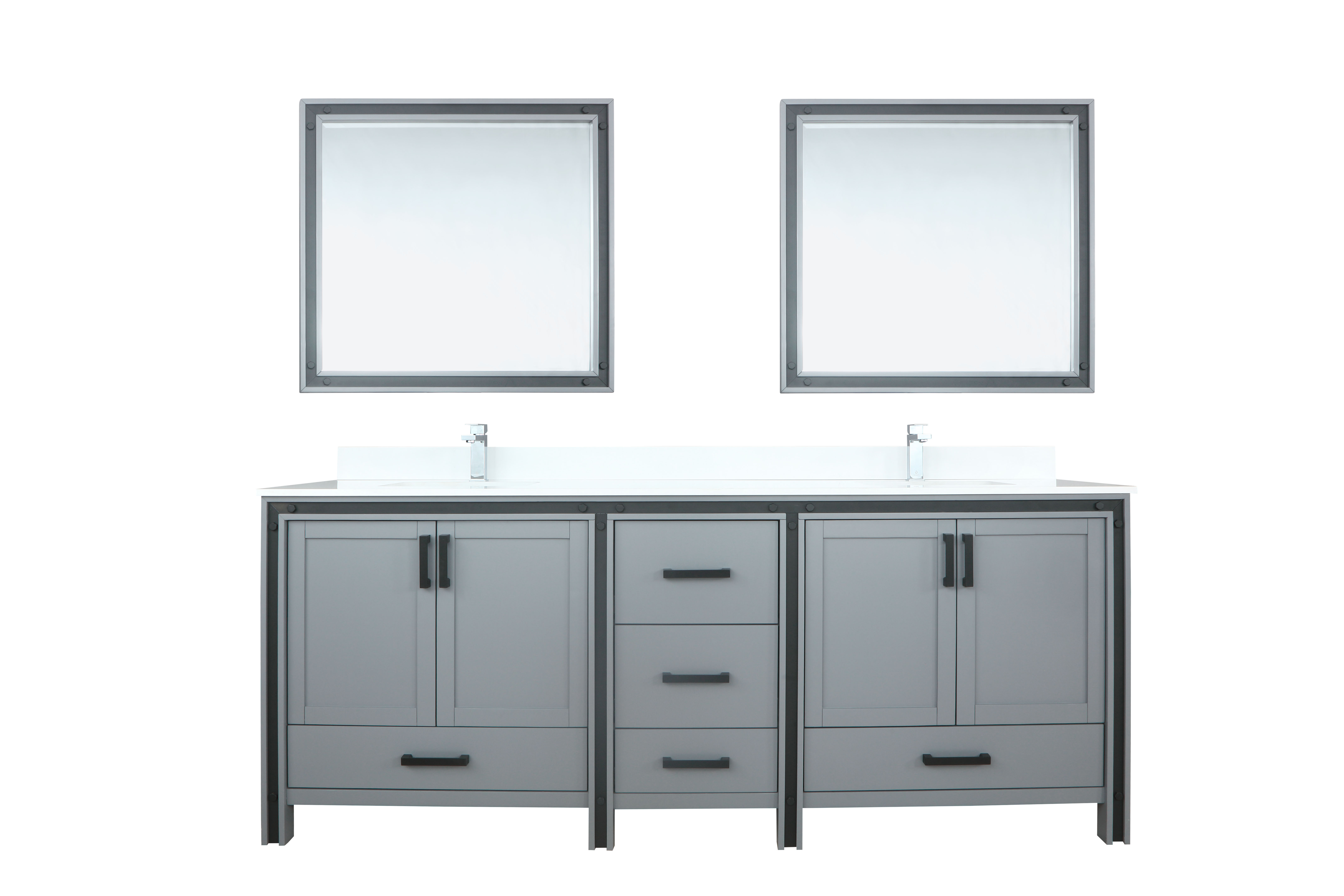 """84"""" Dark Grey Vanity Bathroom Cabinet Only with Countertop and Mirror Options"""