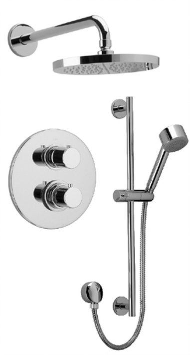 Thermostatic Shower With 2-Way Diverter Volume Control and Slide Bar with 2 Color Options