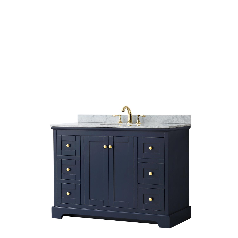 """48"""" Single Bathroom Vanity in Dark Blue, No Countertop, No Sink, and No Mirror"""