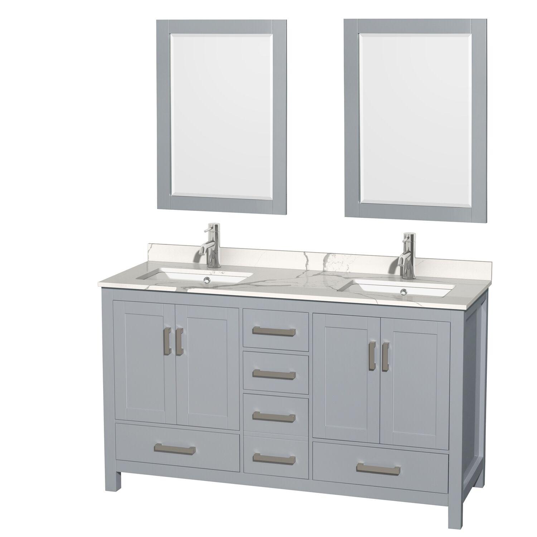 "60"" Double Bathroom Vanity with Color, Countertop, Mirror and Medicine Cabinet Options"