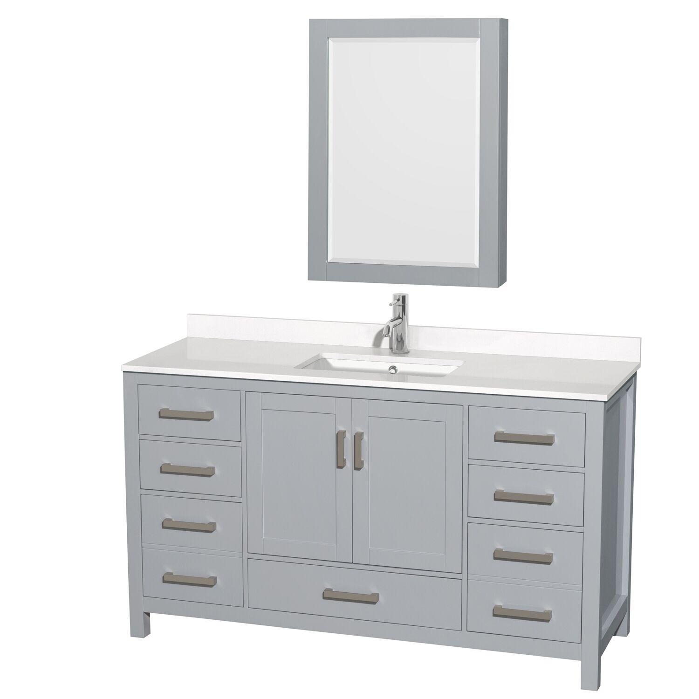 """60"""" Single Bathroom Vanity with Color, Countertop, Mirror and Medicine Cabinet Options"""