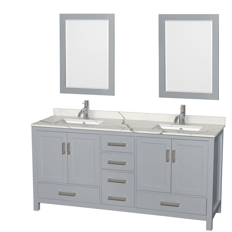 "72"" Double Bathroom Vanity with Color, Countertop, Mirror and Medicine Cabinet Options"