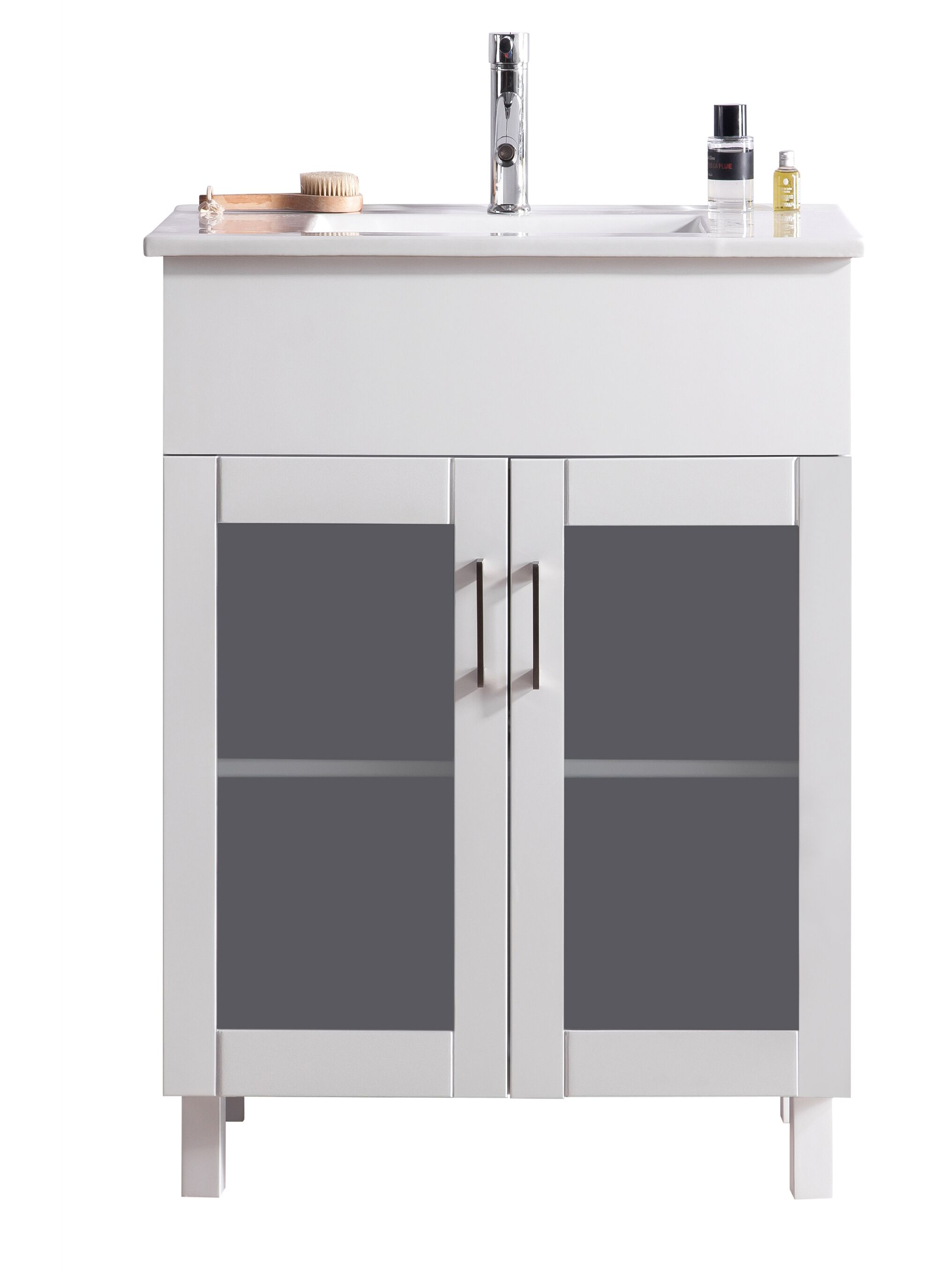 """24"""" Single Bathroom Vanity Cabinet + Ceramic Basin Counter with Color and Mirror Options"""