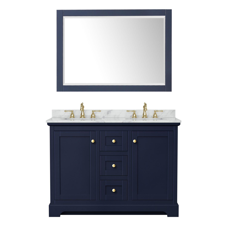 "48"" Double Bathroom Vanity in Dark Blue with Countertop, Sinks and Mirror Options"