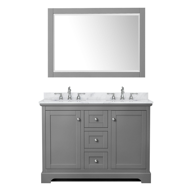 "48"" Double Bathroom Vanity in Dark Gray with Countertop, Sinks and Mirror Options"