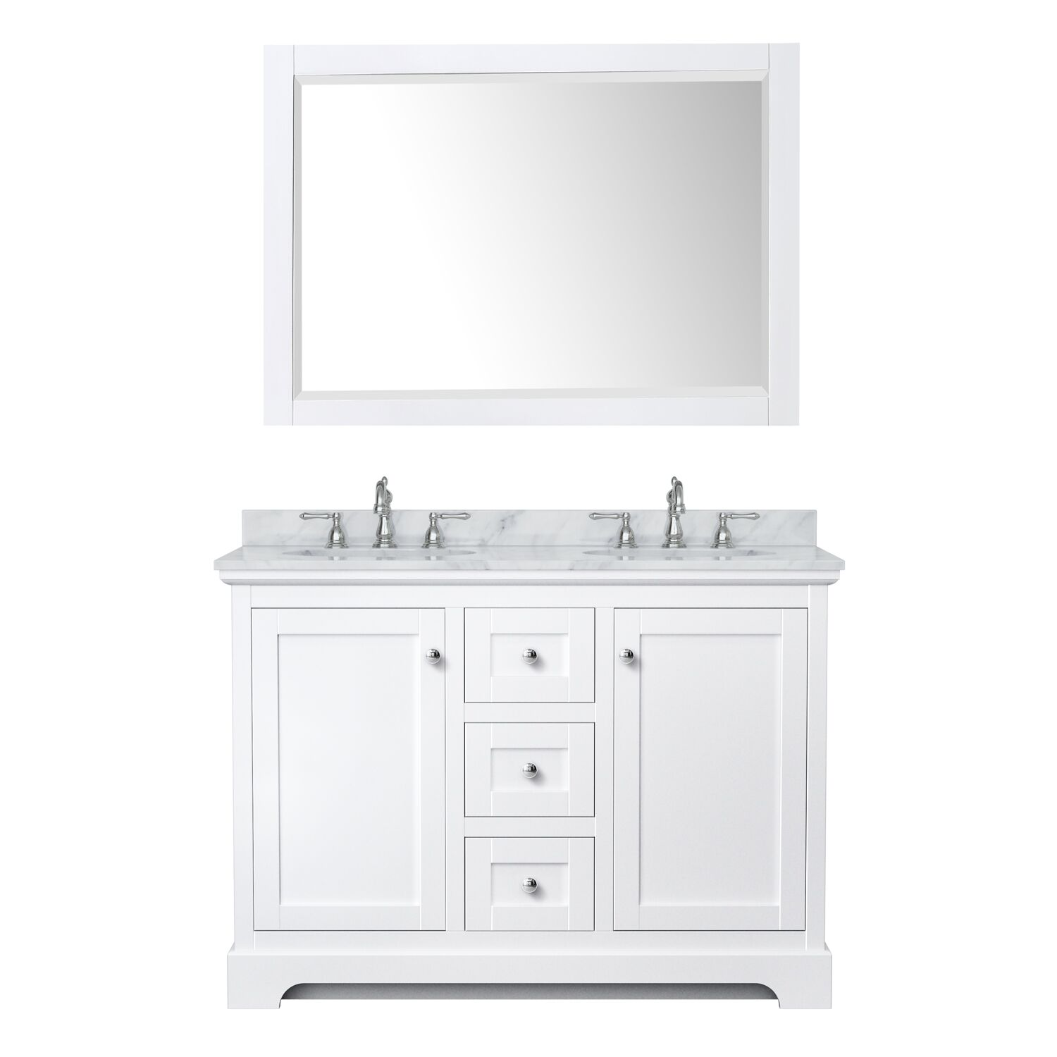 """48"""" Double Bathroom Vanity in White with Countertop, Sinks and Mirror Options"""