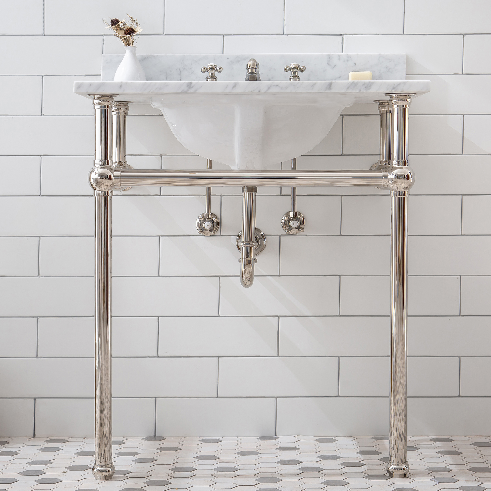 """30"""" Wide Single Wash Stand Only in Polished Nickel Finish"""