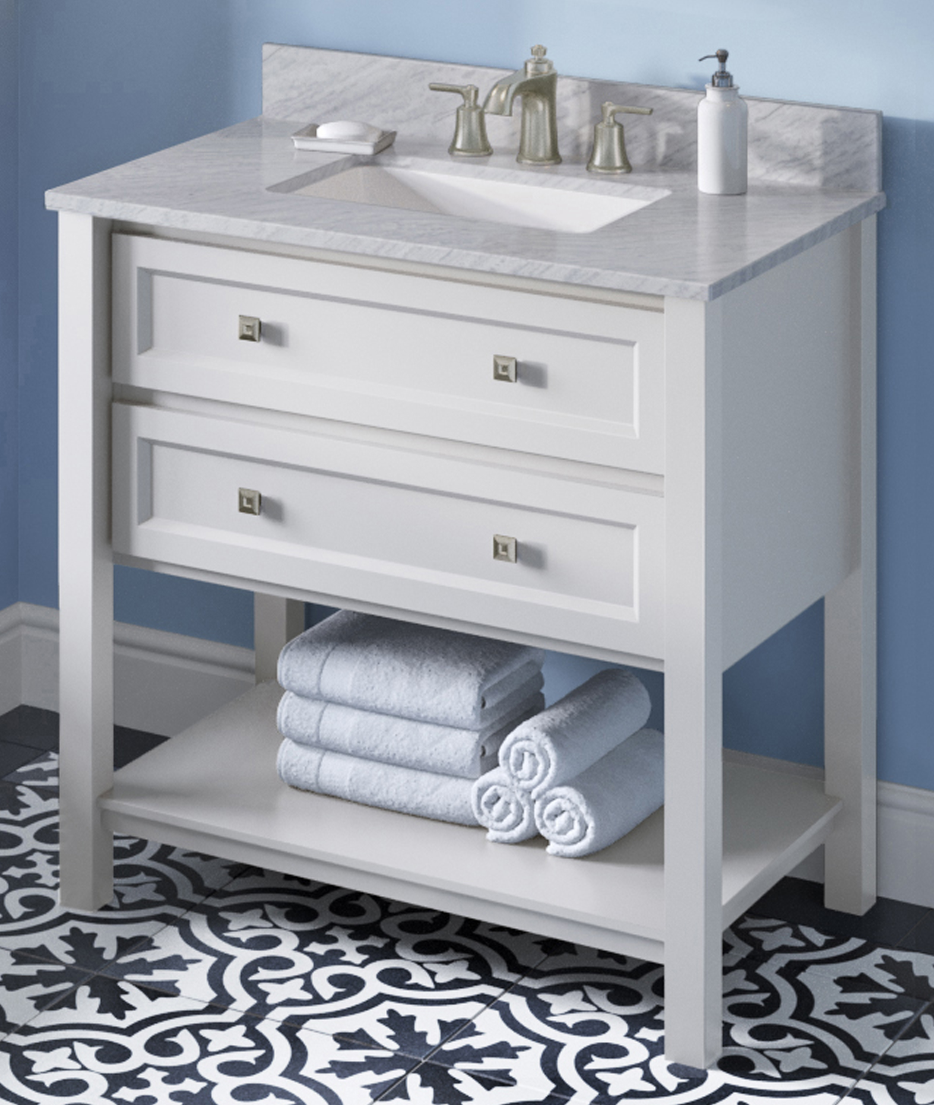"36"" White Single Sink Bathroom Vanity White Carrara Marble Vanity Top, Undermount Rectangle Bowl"