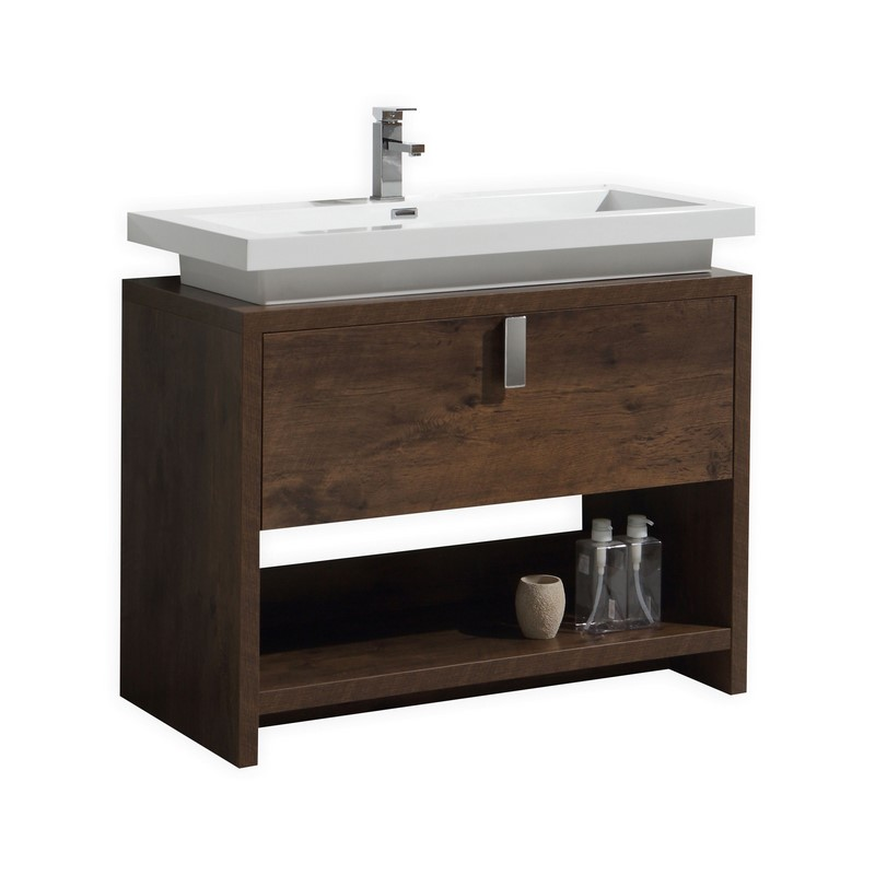 40 inch rose wood modern bathroom vanity with integrated sink top - Contemporary european designer bathroom vanities ...