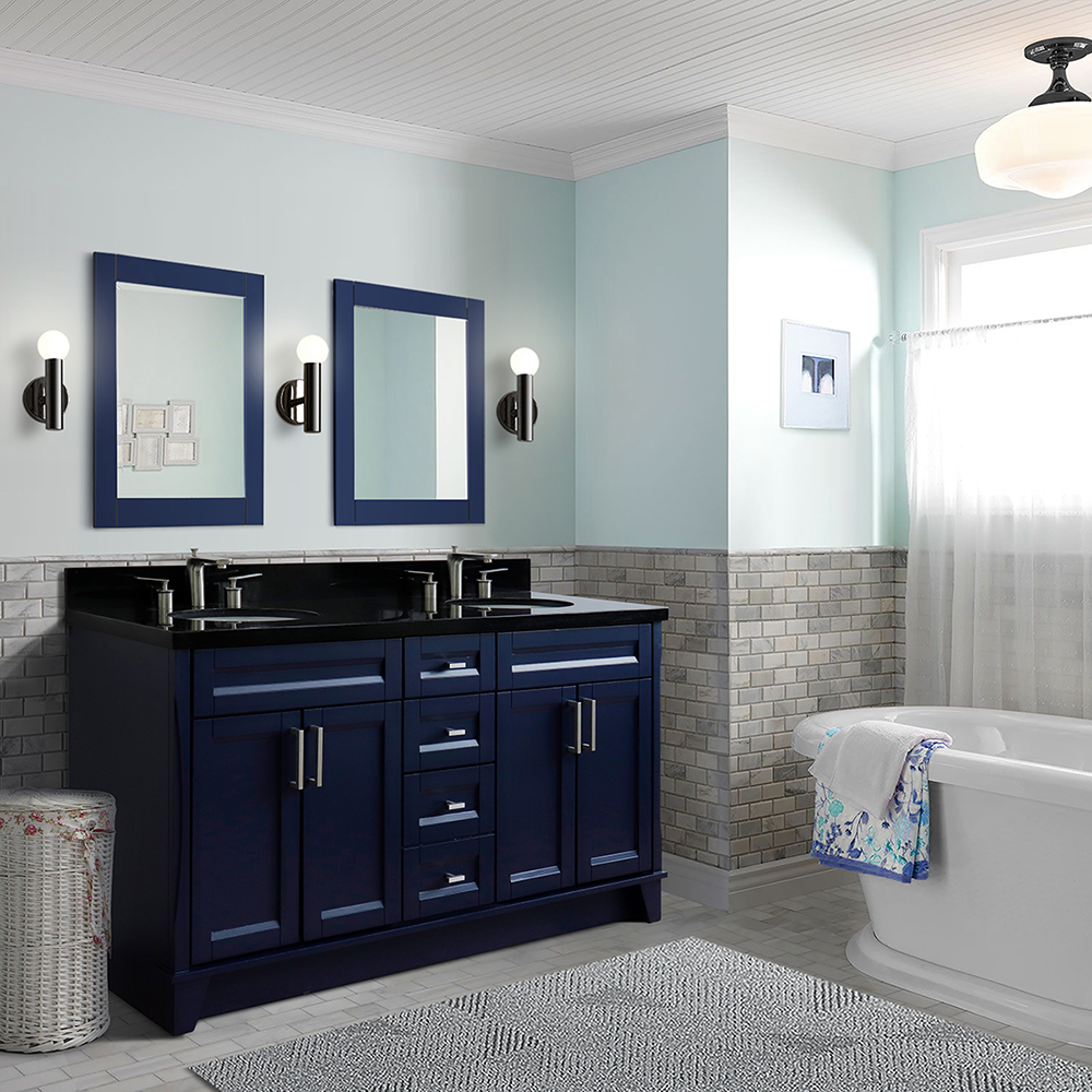 """61"""" Double Sink Vanity in Blue Finish with Countertop and Sink Options"""