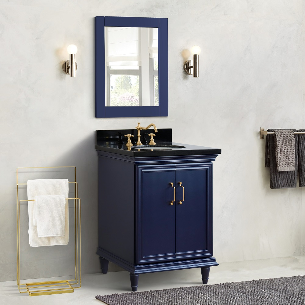 """25"""" Single Vanity in Blue Finish with Countertop and Sink Option"""