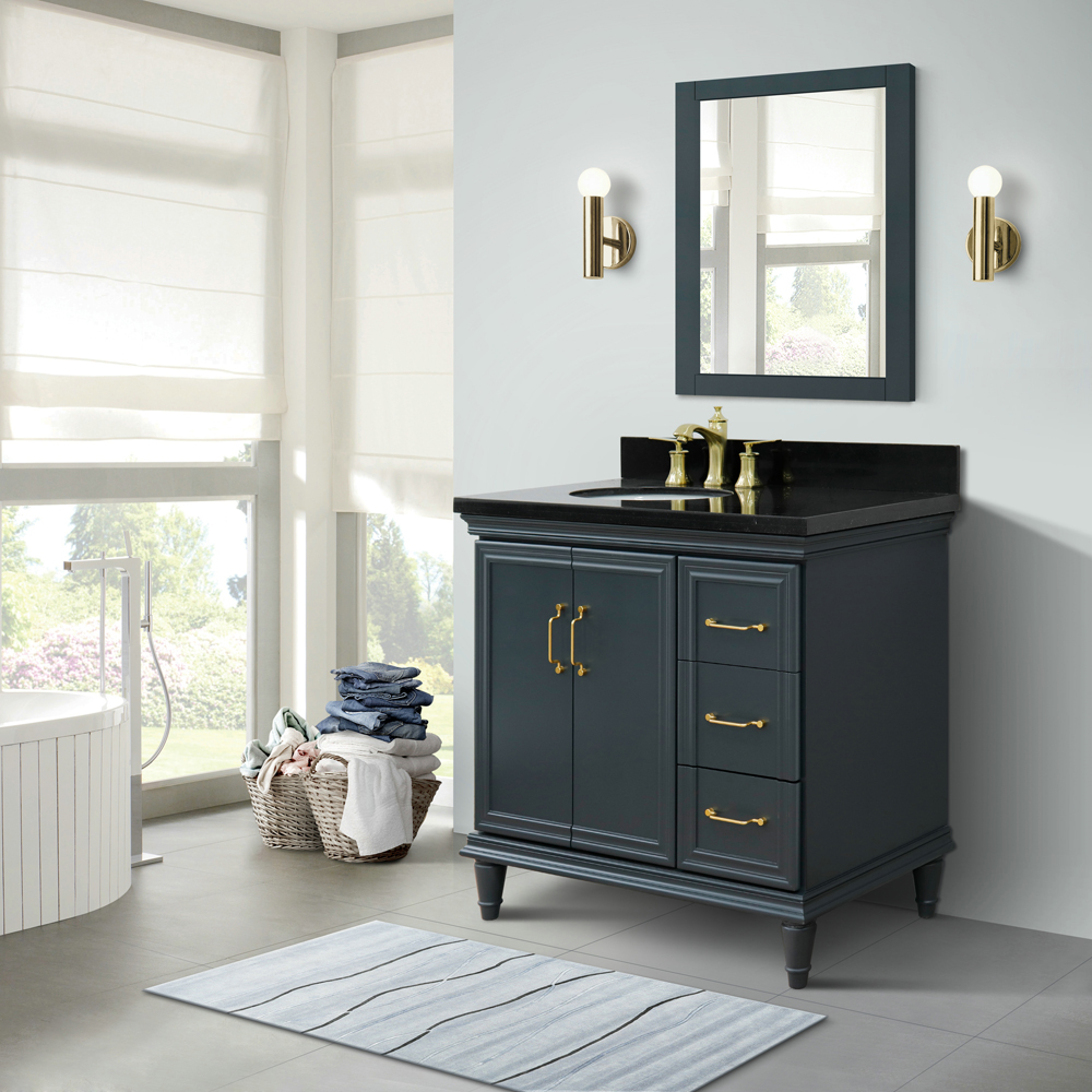 "37"" Single Vanity in Dark Gray Finish with Countertop and Sink Option - Left door/Left sink"