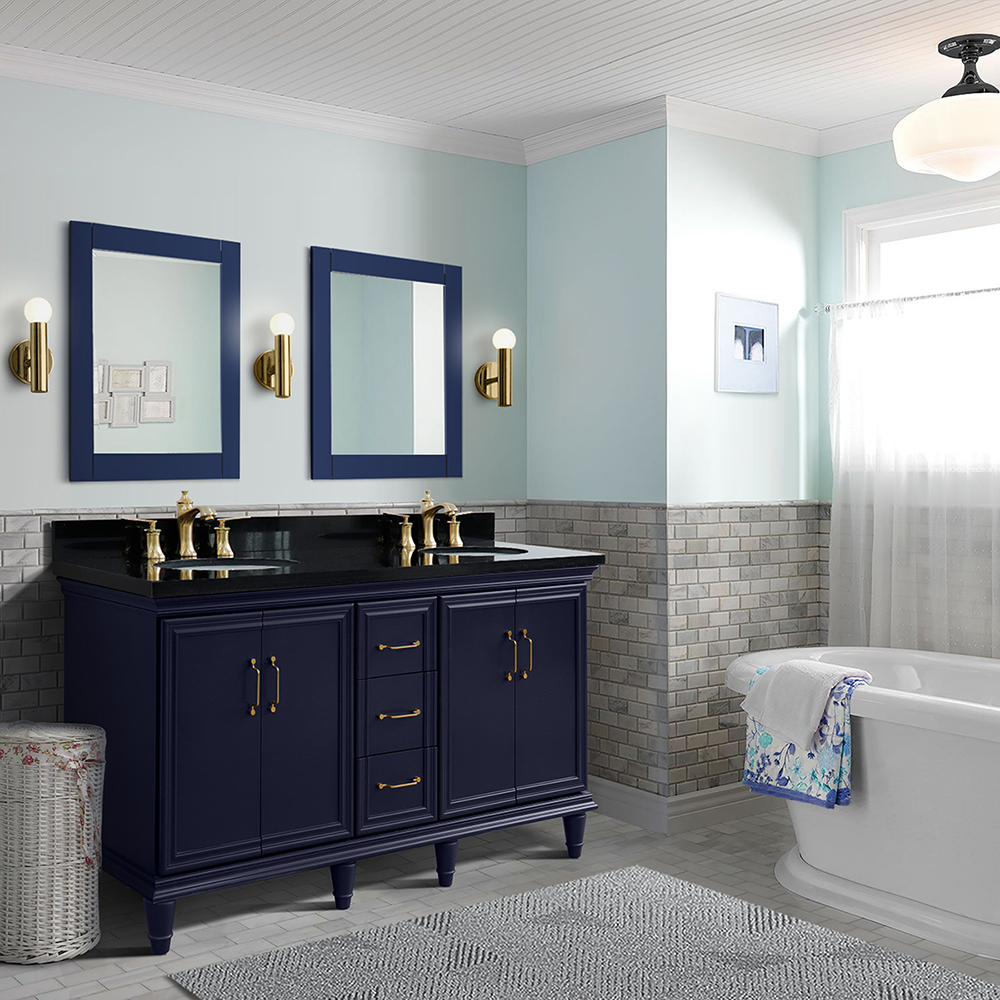 """61"""" Double Sink Bathroom Vanity in Blue Finish with Countertop and Sink Options"""