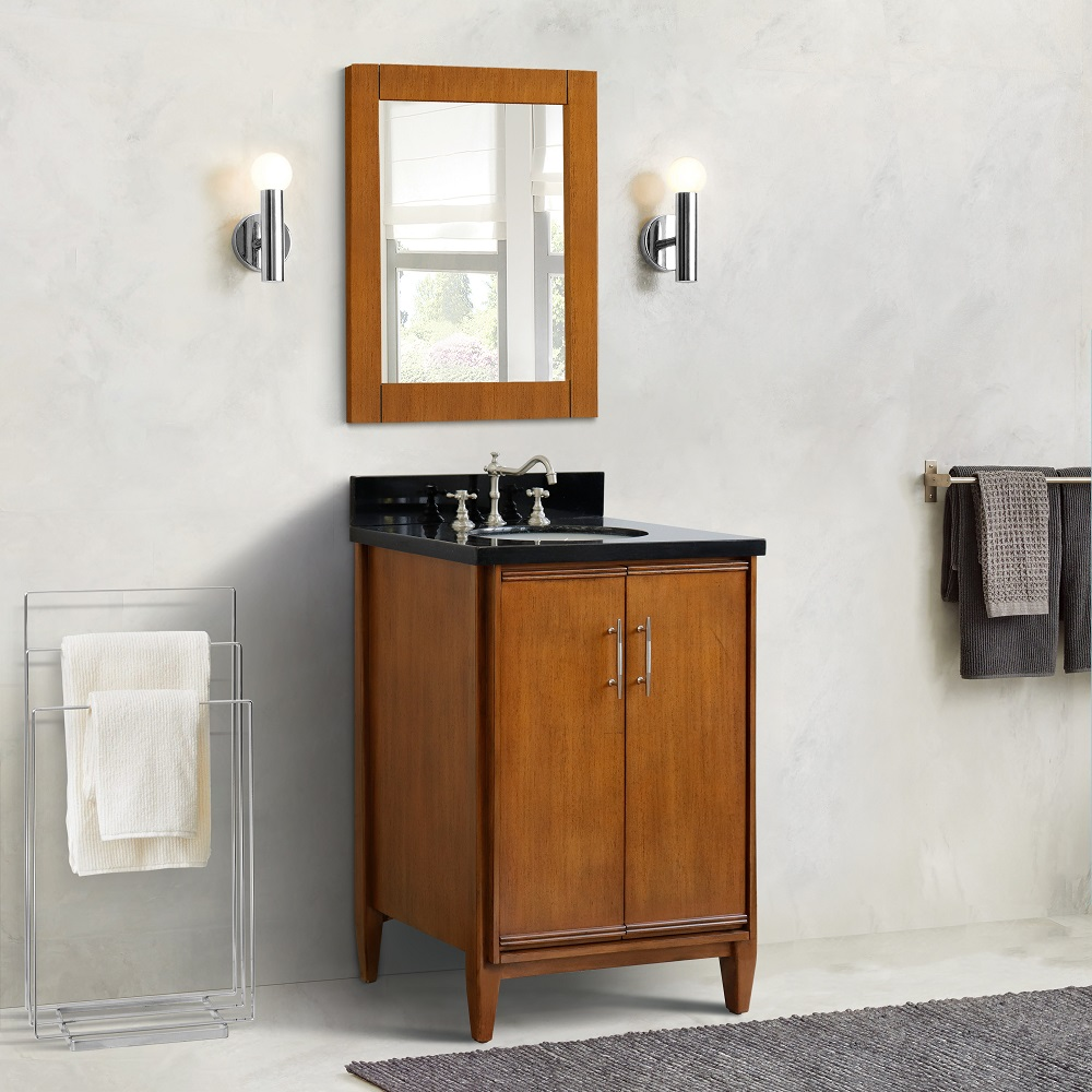 """25"""" Single Sink Vanity in Walnut Finish with Countertop and Sink Options"""