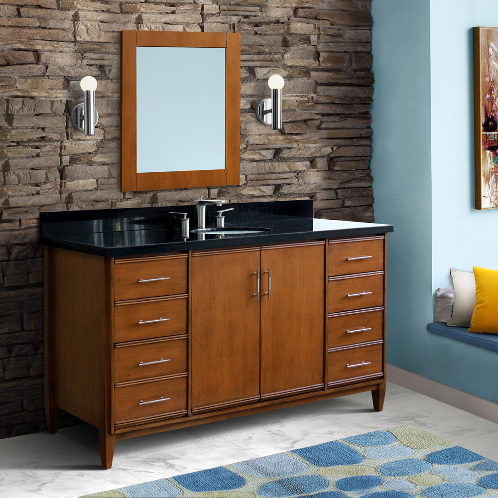 """61"""" Single Sink Vanity in Walnut Finish with Countertop and Sink Options"""