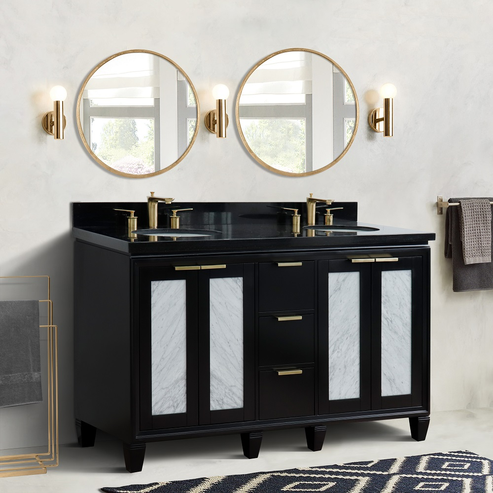 "61"" Double Sink Vanity in Black Finish with Countertop and Sink Options"